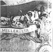 Float entered by J Miller, the Chiswick bakery firm, which won first prize in the trade section