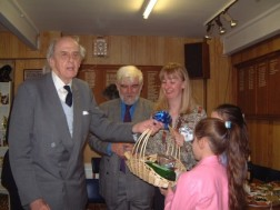 The Duke being presented with Hamper of market produce