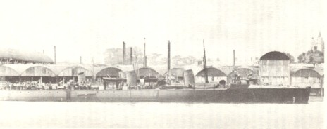 Church Wharf in 1896 H.M.S. Angler fitting out