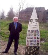 Cllr John Chatt and one of the Sculptures